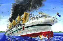 HMHS Britannic at the time of sinking