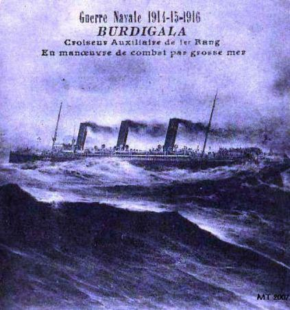 Burdigala as an Auxiliary Cruiser in heavy seas